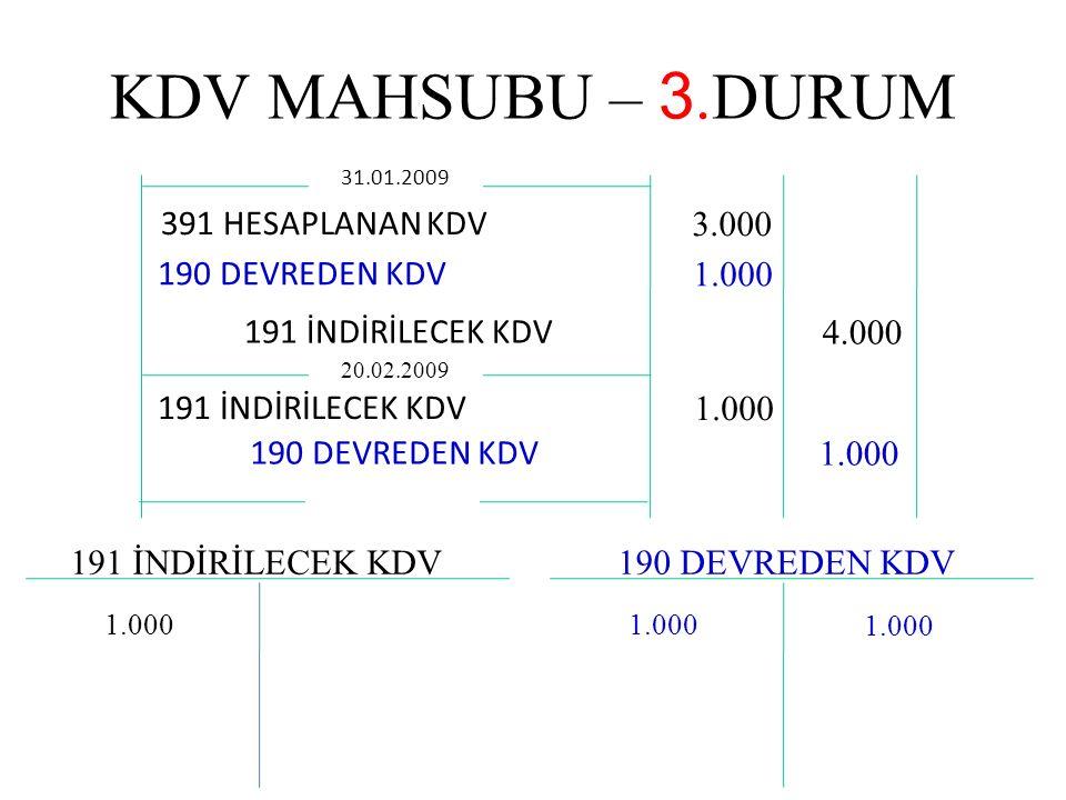 KDV MAHSUBU – 3.DURUM 391 HESAPLANAN KDV 3.000 190 DEVREDEN KDV 1.000