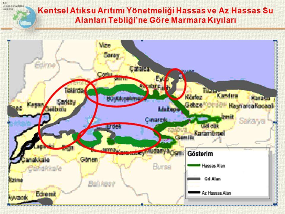 Kentsel Atıksu Arıtımı Yönetmeliği Hassas ve Az Hassas Su Alanları Tebliği'ne Göre Marmara Kıyıları