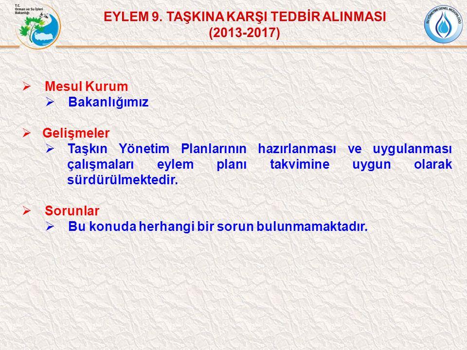 EYLEM 9. TAŞKINA KARŞI TEDBİR ALINMASI