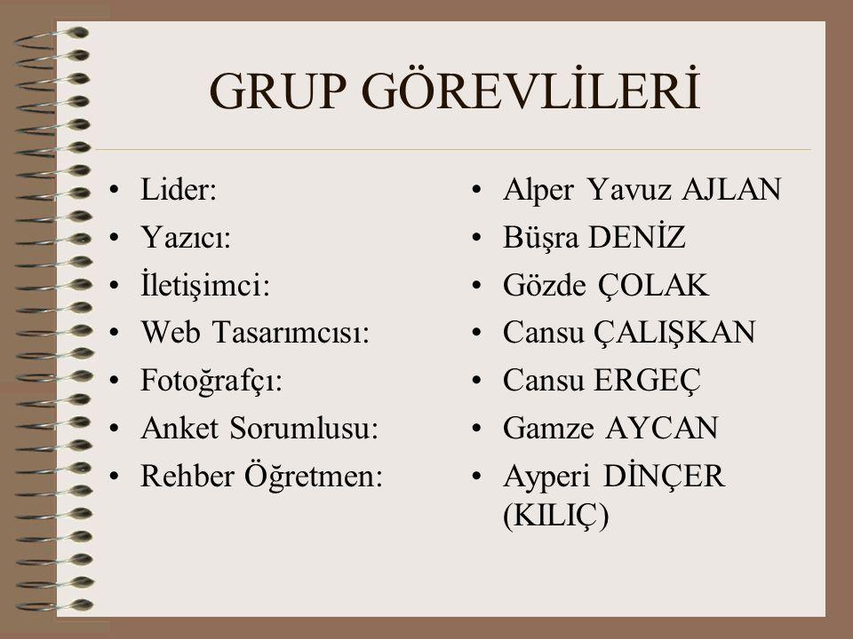 GRUP GÖREVLİLERİ Lider: Yazıcı: İletişimci: Web Tasarımcısı: