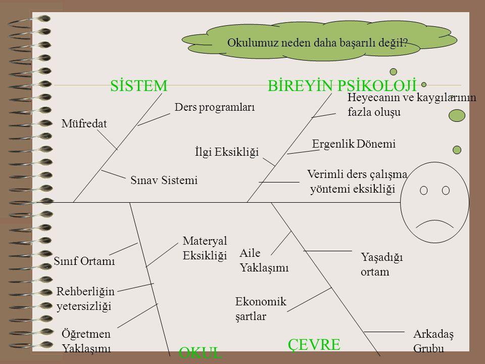 SİSTEM BİREYİN PSİKOLOJİ OKUL ÇEVRE Müfredat Sınav Sistemi