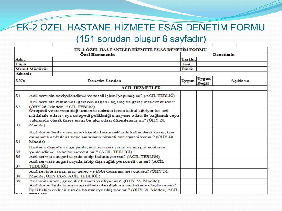EK-2 ÖZEL HASTANE HİZMETE ESAS DENETİM FORMU (151 sorudan oluşur 6 sayfadır)
