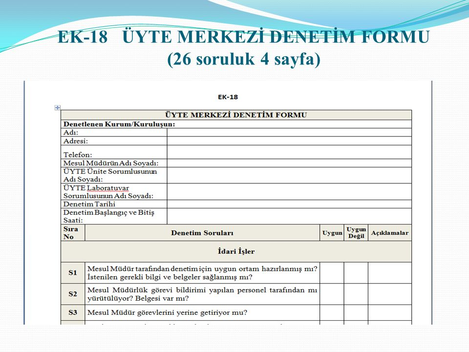 EK-18 ÜYTE MERKEZİ DENETİM FORMU (26 soruluk 4 sayfa)