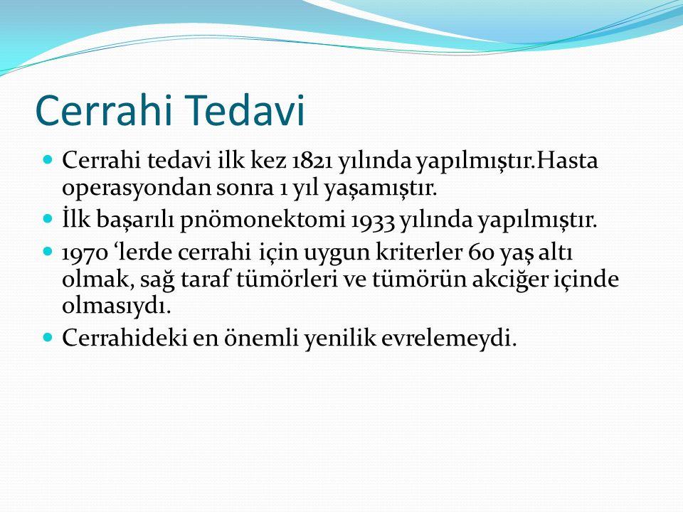 Cerrahi Tedavi Cerrahi tedavi ilk kez 1821 yılında yapılmıştır.Hasta operasyondan sonra 1 yıl yaşamıştır.