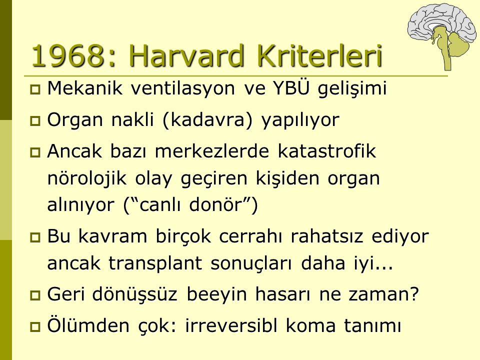 1968: Harvard Kriterleri Mekanik ventilasyon ve YBÜ gelişimi