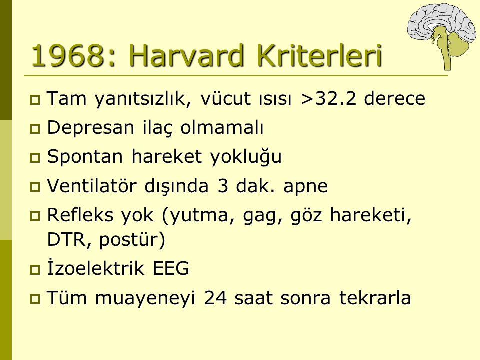 1968: Harvard Kriterleri Tam yanıtsızlık, vücut ısısı >32.2 derece