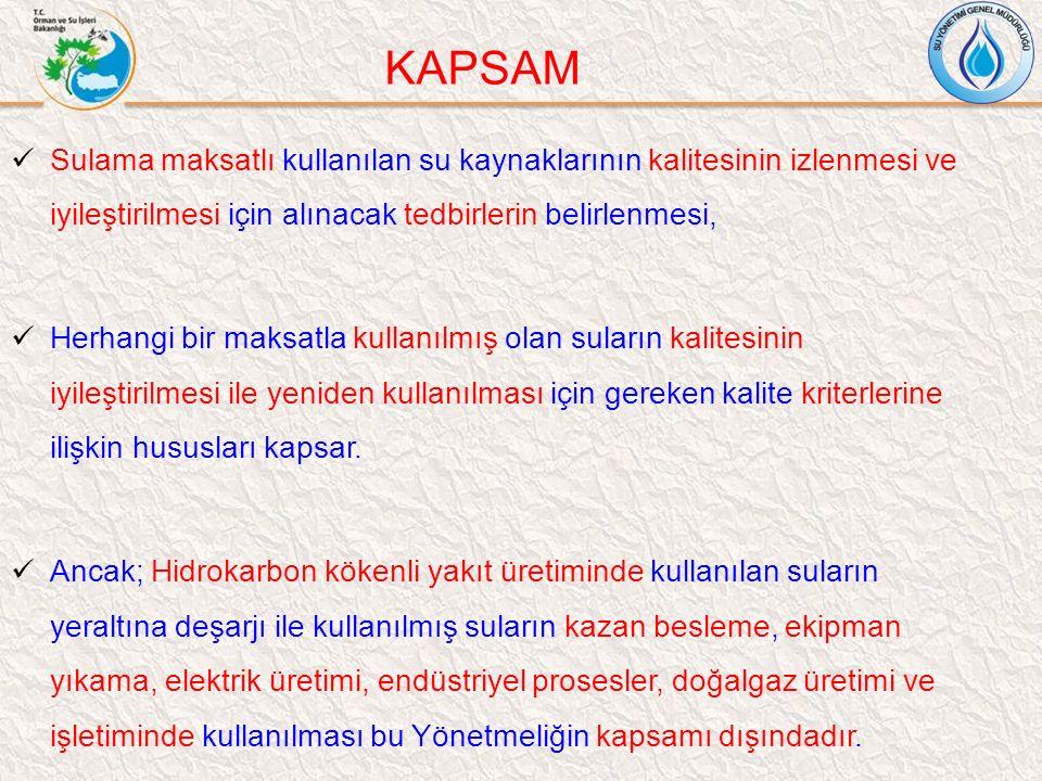 KAPSAM Sulama maksatlı kullanılan su kaynaklarının kalitesinin izlenmesi ve iyileştirilmesi için alınacak tedbirlerin belirlenmesi,