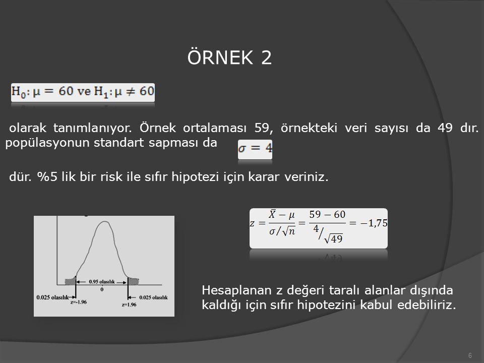 ÖRNEK 2 olarak tanımlanıyor. Örnek ortalaması 59, örnekteki veri sayısı da 49 dır. popülasyonun standart sapması da.