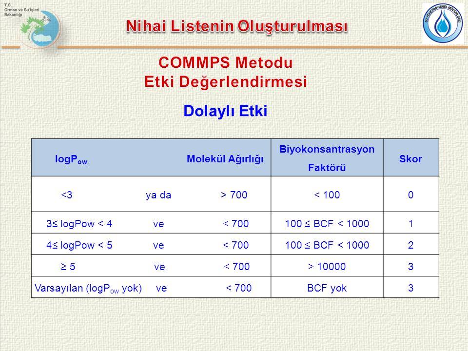 Nihai Listenin Oluşturulması Biyokonsantrasyon Faktörü