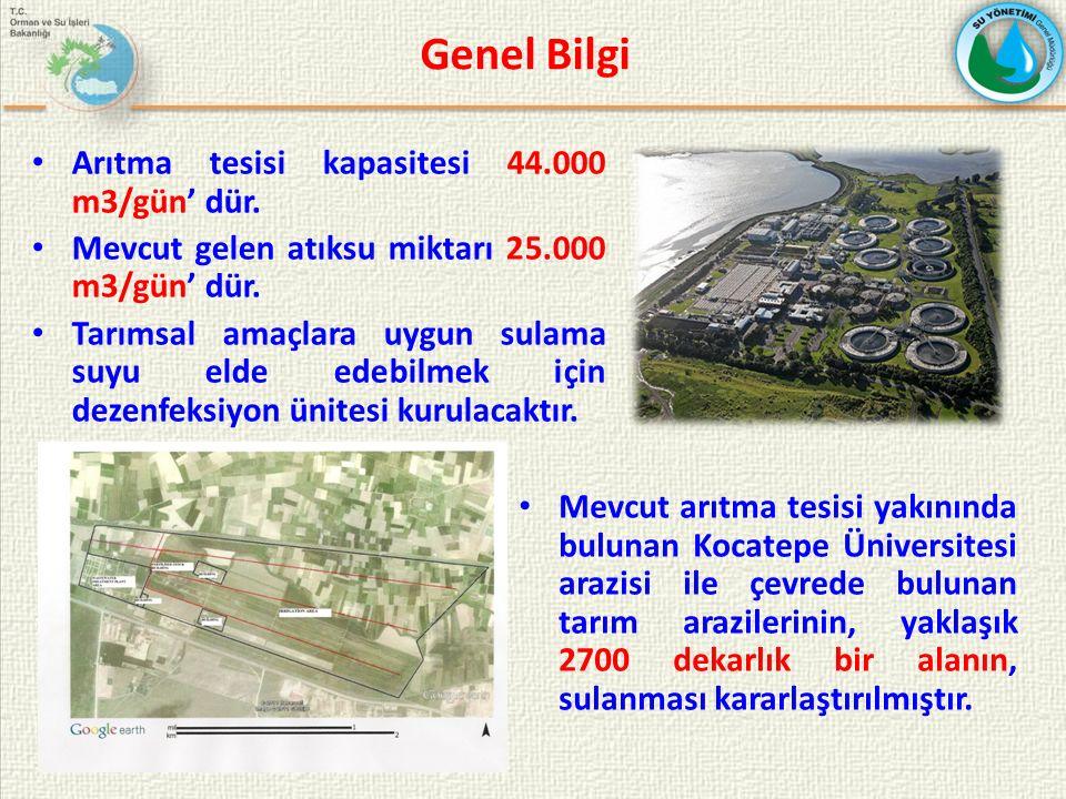 Genel Bilgi Arıtma tesisi kapasitesi 44.000 m3/gün' dür.