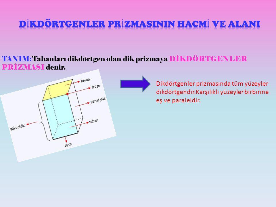 DİKDÖRTGENLER PRİZMASININ HACMİ VE ALANI