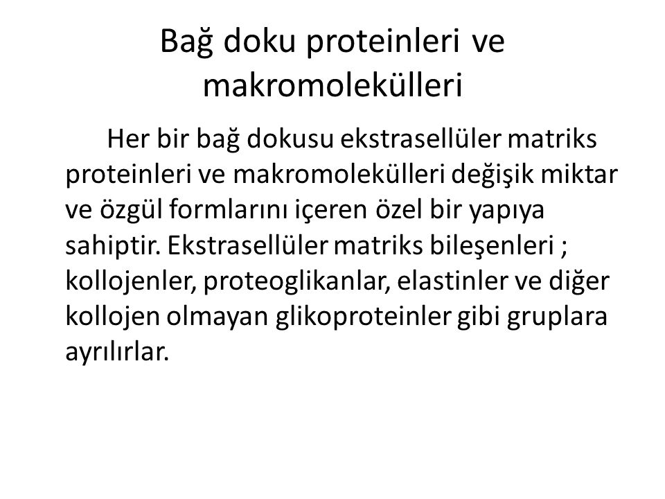 Bağ doku proteinleri ve makromolekülleri