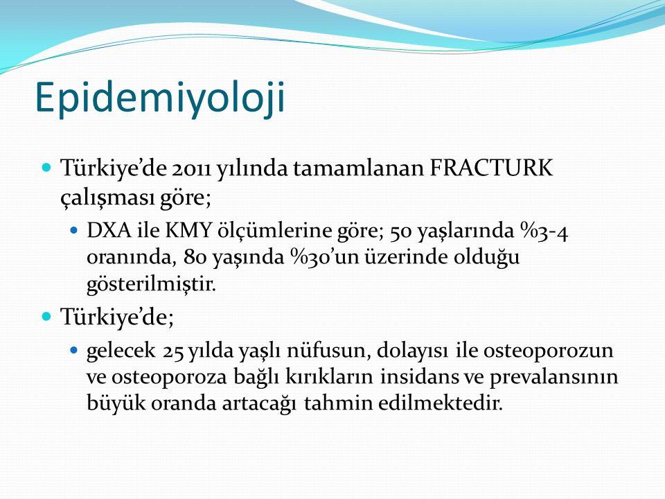 Epidemiyoloji Türkiye'de 2011 yılında tamamlanan FRACTURK çalışması göre;