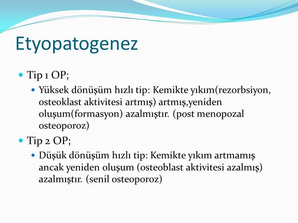 Etyopatogenez Tip 1 OP; Tip 2 OP;