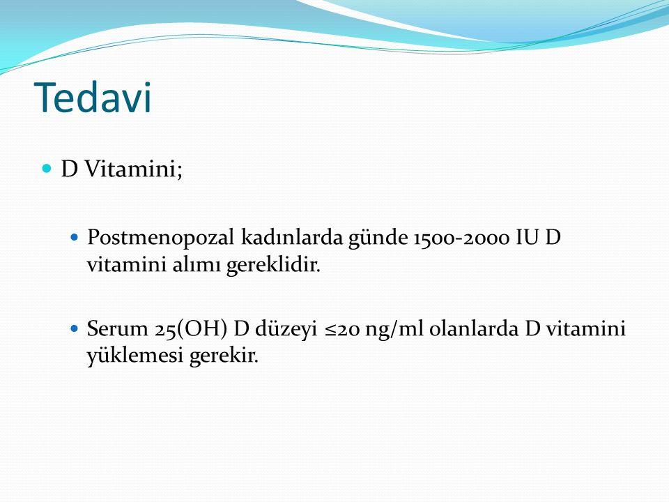 Tedavi D Vitamini; Postmenopozal kadınlarda günde 1500-2000 IU D vitamini alımı gereklidir.