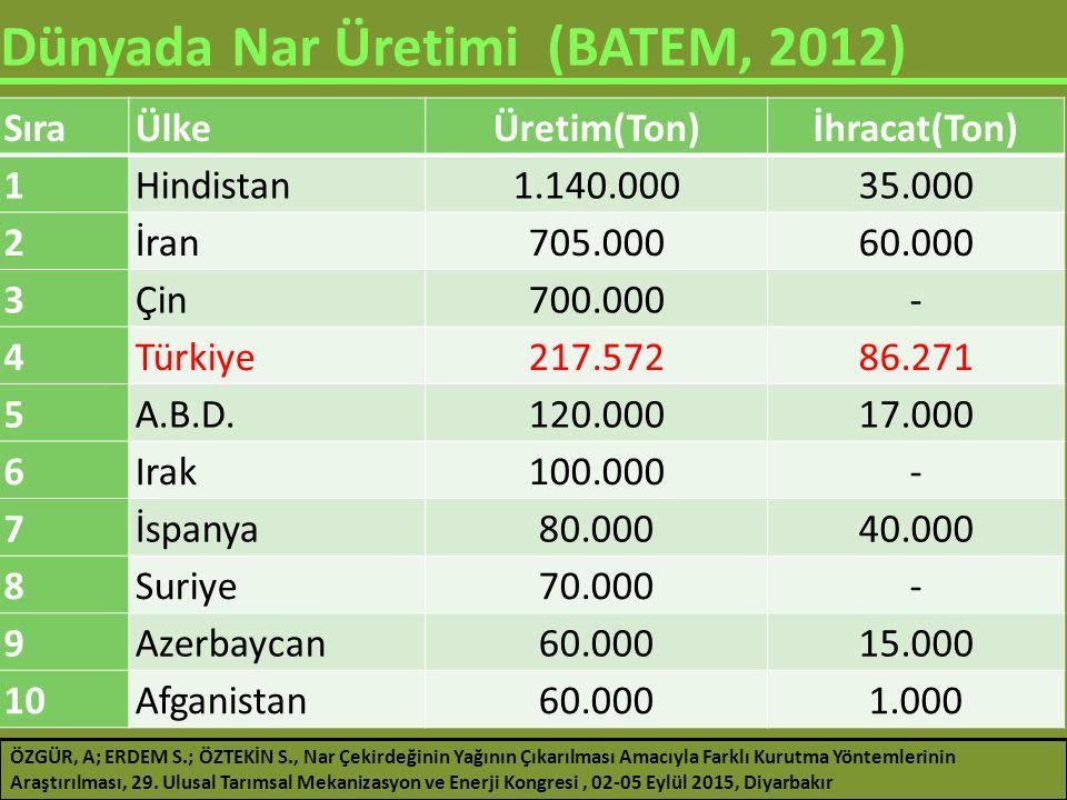 Dünyada Nar Üretimi (BATEM, 2012)