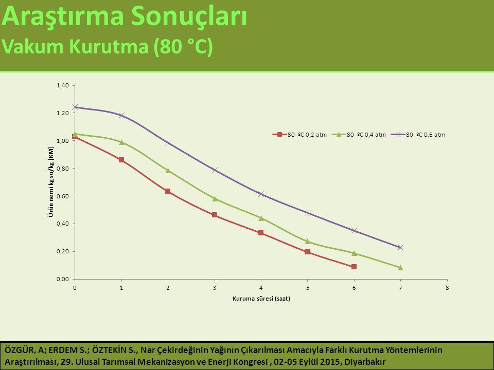 Araştırma Sonuçları Vakum Kurutma (80 °C)