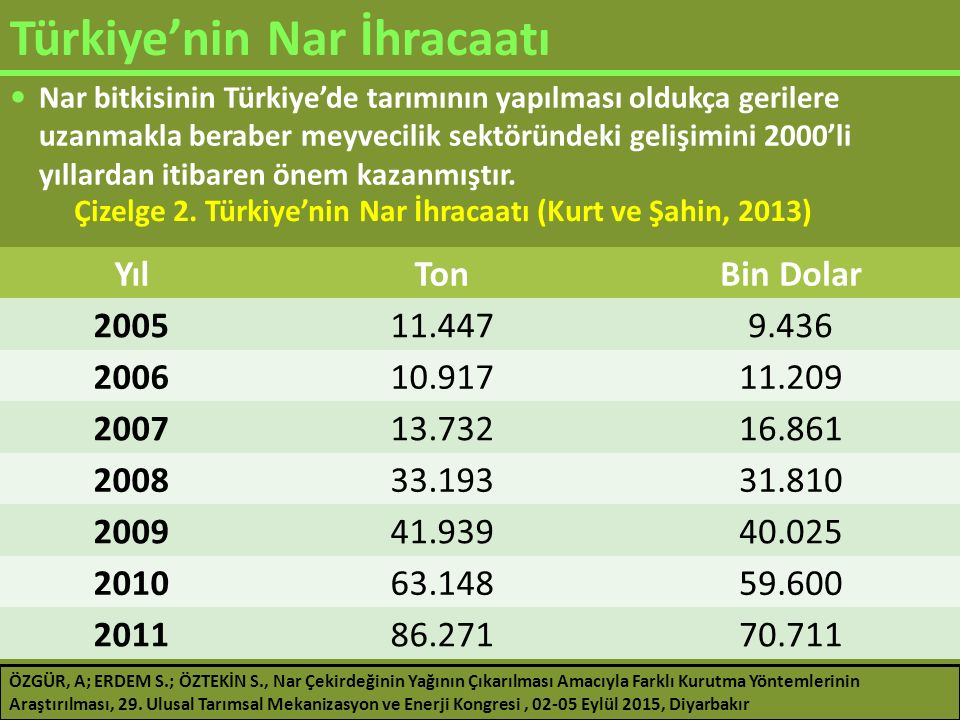 Türkiye'nin Nar İhracaatı