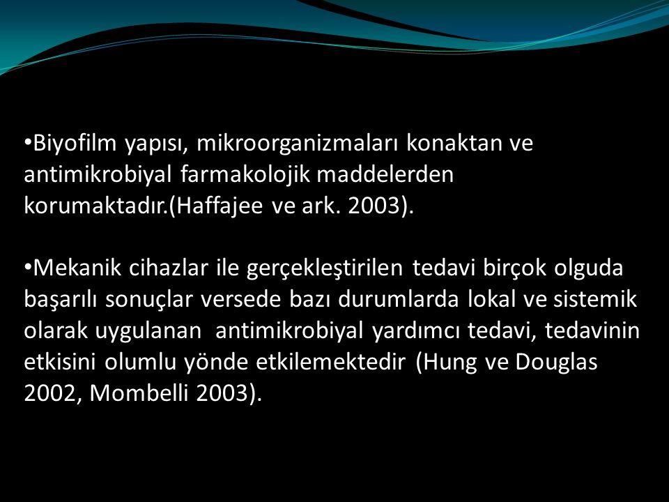 Biyofilm yapısı, mikroorganizmaları konaktan ve antimikrobiyal farmakolojik maddelerden korumaktadır.(Haffajee ve ark. 2003).