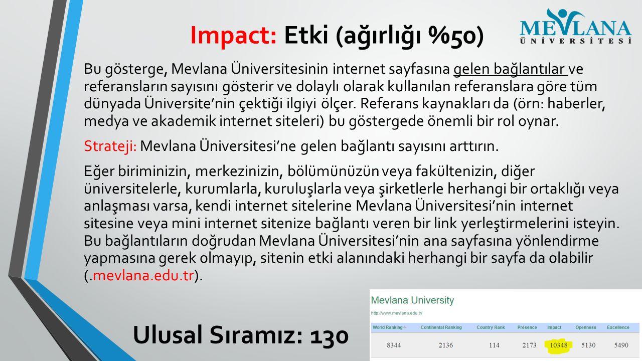 Impact: Etki (ağırlığı %50)