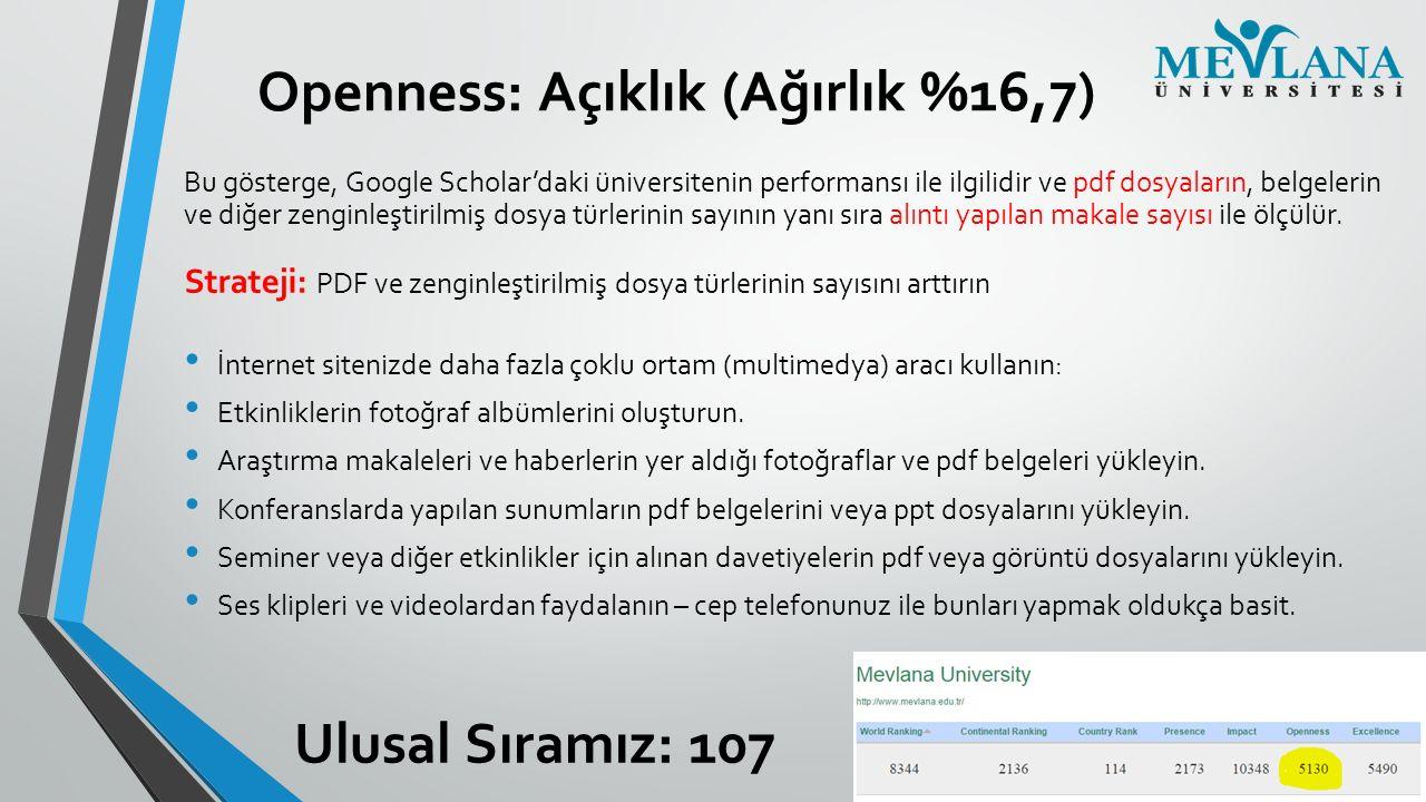 Openness: Açıklık (Ağırlık %16,7)