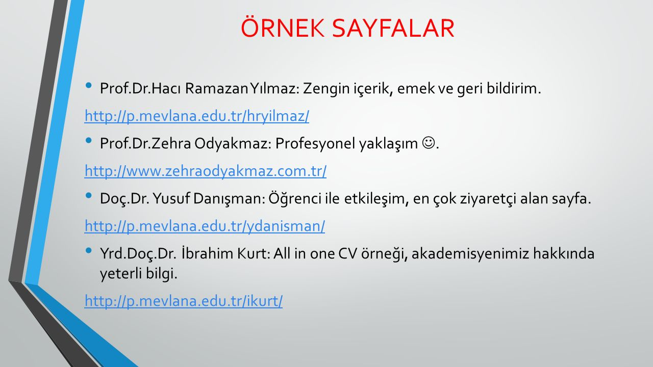 ÖRNEK SAYFALAR Prof.Dr.Hacı Ramazan Yılmaz: Zengin içerik, emek ve geri bildirim. http://p.mevlana.edu.tr/hryilmaz/
