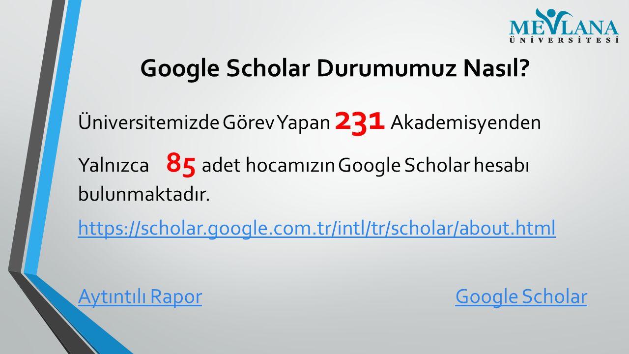 Google Scholar Durumumuz Nasıl