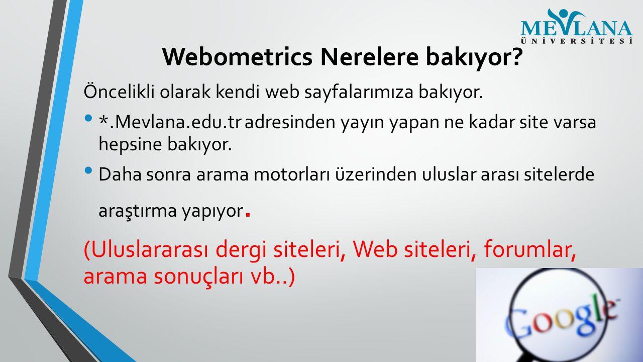 Webometrics Nerelere bakıyor