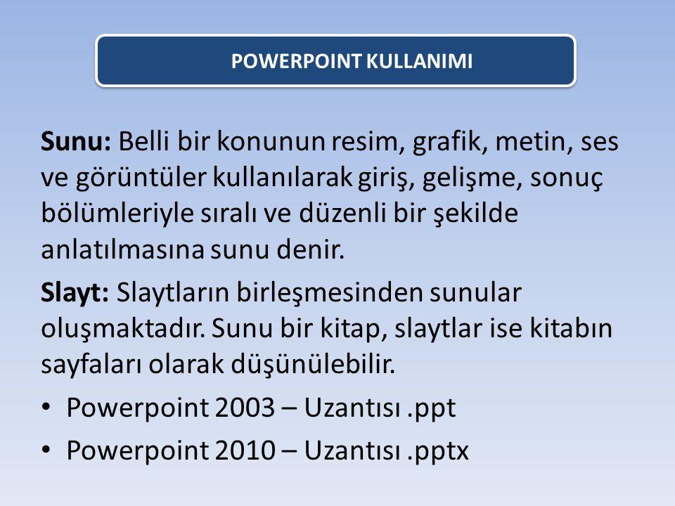 Powerpoint 2003 – Uzantısı .ppt Powerpoint 2010 – Uzantısı .pptx