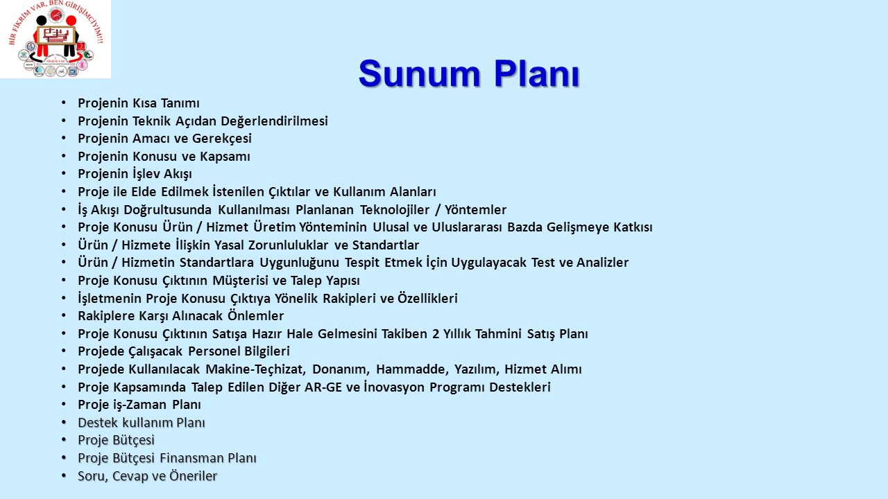 Sunum Planı Projenin Kısa Tanımı