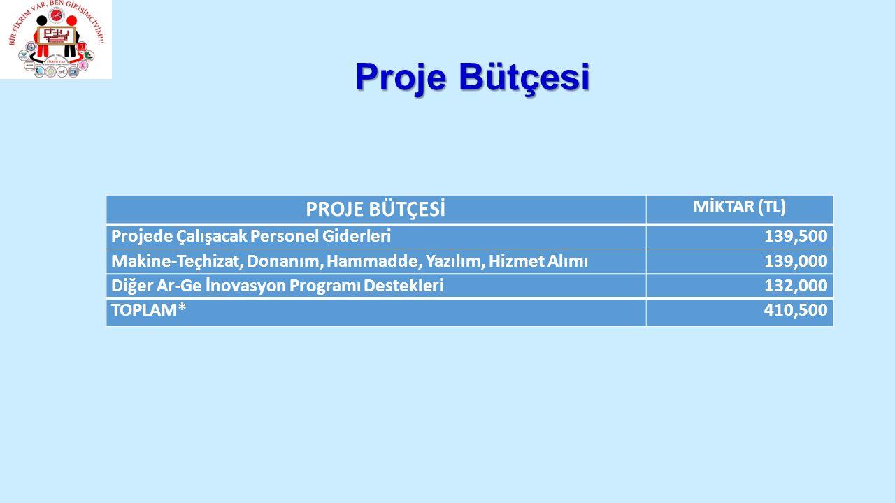 Proje Bütçesi PROJE BÜTÇESİ MİKTAR (TL)