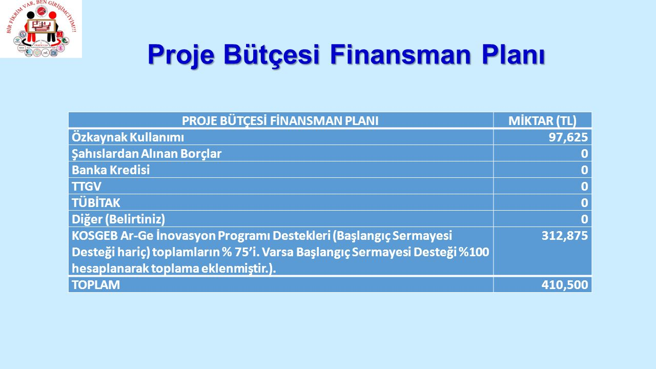 Proje Bütçesi Finansman Planı