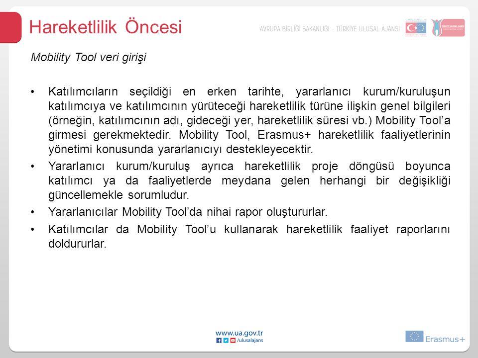 Hareketlilik Öncesi Mobility Tool veri girişi