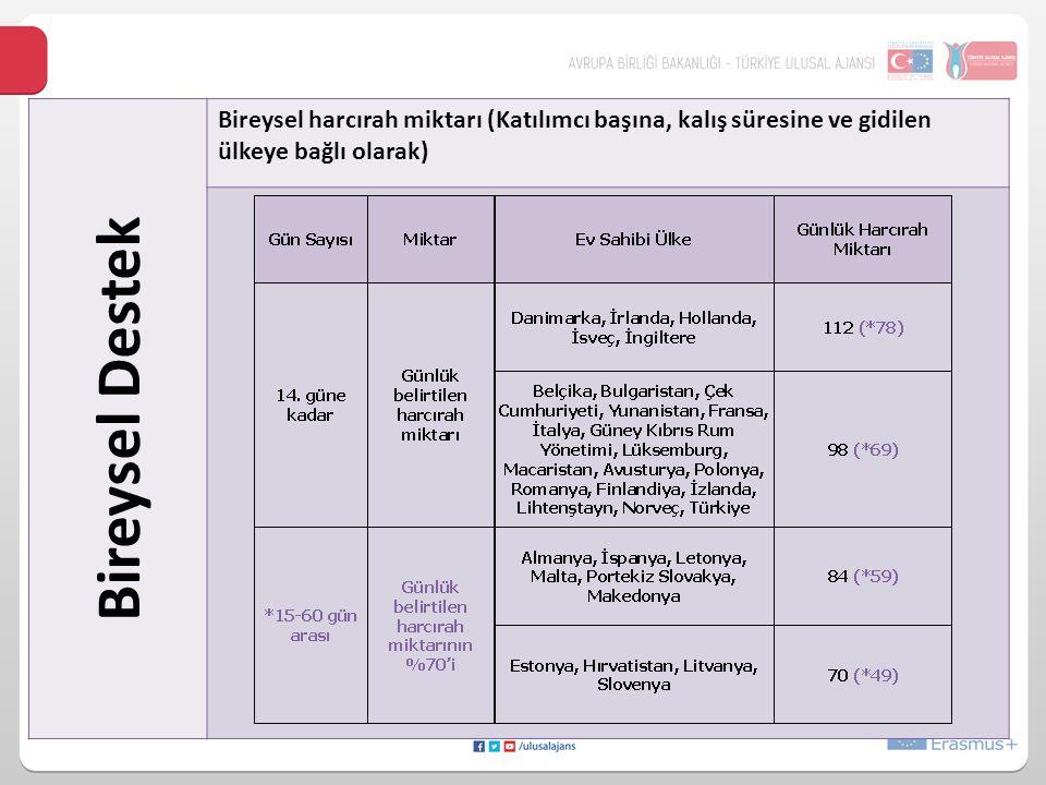 24/10/2014 Bireysel Destek. Bireysel harcırah miktarı (Katılımcı başına, kalış süresine ve gidilen ülkeye bağlı olarak)