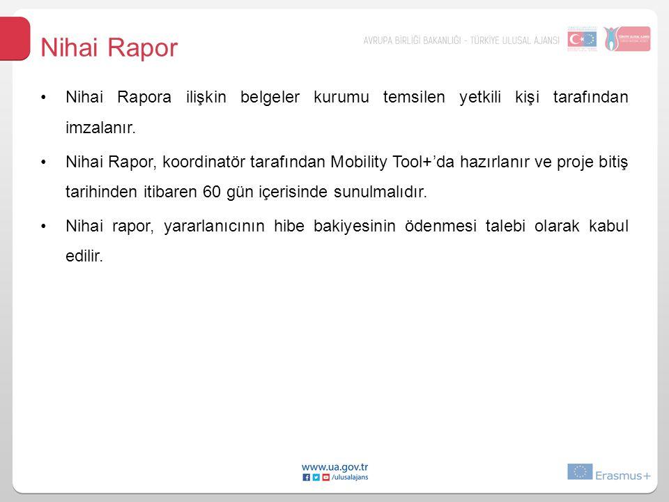 Nihai Rapor Nihai Rapora ilişkin belgeler kurumu temsilen yetkili kişi tarafından imzalanır.