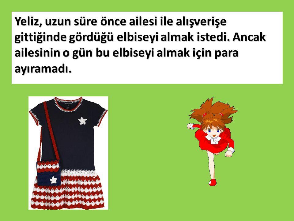 Yeliz, uzun süre önce ailesi ile alışverişe gittiğinde gördüğü elbiseyi almak istedi.