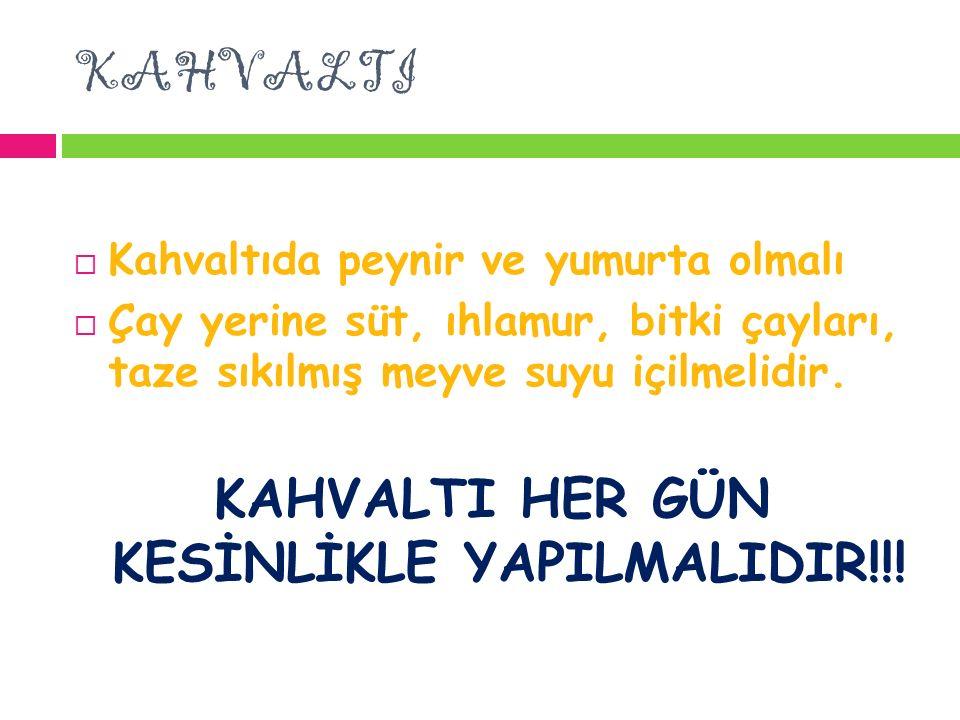 KAHVALTI HER GÜN KESİNLİKLE YAPILMALIDIR!!!