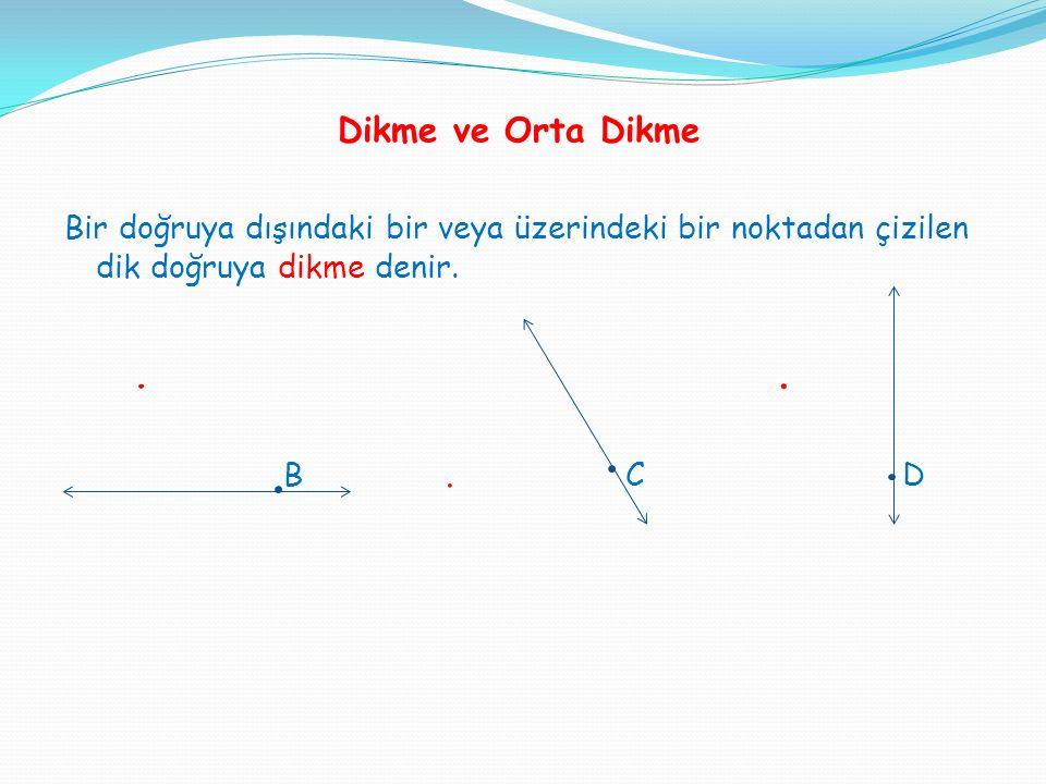 Dikme ve Orta Dikme Bir doğruya dışındaki bir veya üzerindeki bir noktadan çizilen dik doğruya dikme denir.