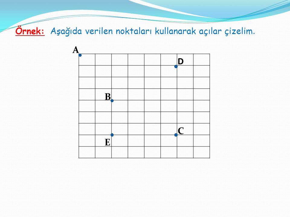 Örnek: Aşağıda verilen noktaları kullanarak açılar çizelim.