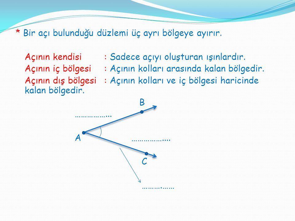 Bir açı bulunduğu düzlemi üç ayrı bölgeye ayırır