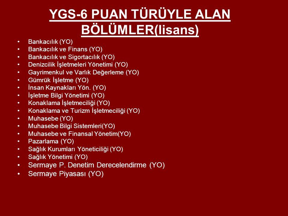 YGS-6 PUAN TÜRÜYLE ALAN BÖLÜMLER(lisans)