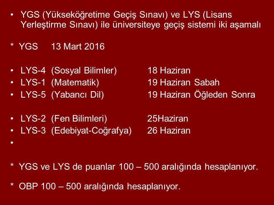 YGS (Yükseköğretime Geçiş Sınavı) ve LYS (Lisans Yerleştirme Sınavı) ile üniversiteye geçiş sistemi iki aşamalı
