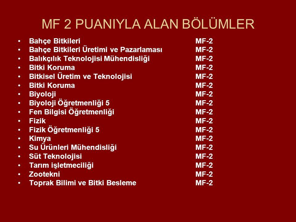 MF 2 PUANIYLA ALAN BÖLÜMLER