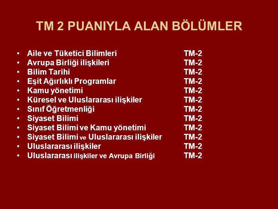 TM 2 PUANIYLA ALAN BÖLÜMLER