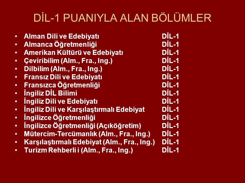 DİL-1 PUANIYLA ALAN BÖLÜMLER