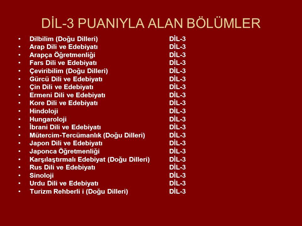 DİL-3 PUANIYLA ALAN BÖLÜMLER