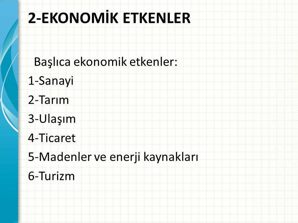 2-EKONOMİK ETKENLER Başlıca ekonomik etkenler: 1-Sanayi 2-Tarım 3-Ulaşım 4-Ticaret 5-Madenler ve enerji kaynakları 6-Turizm