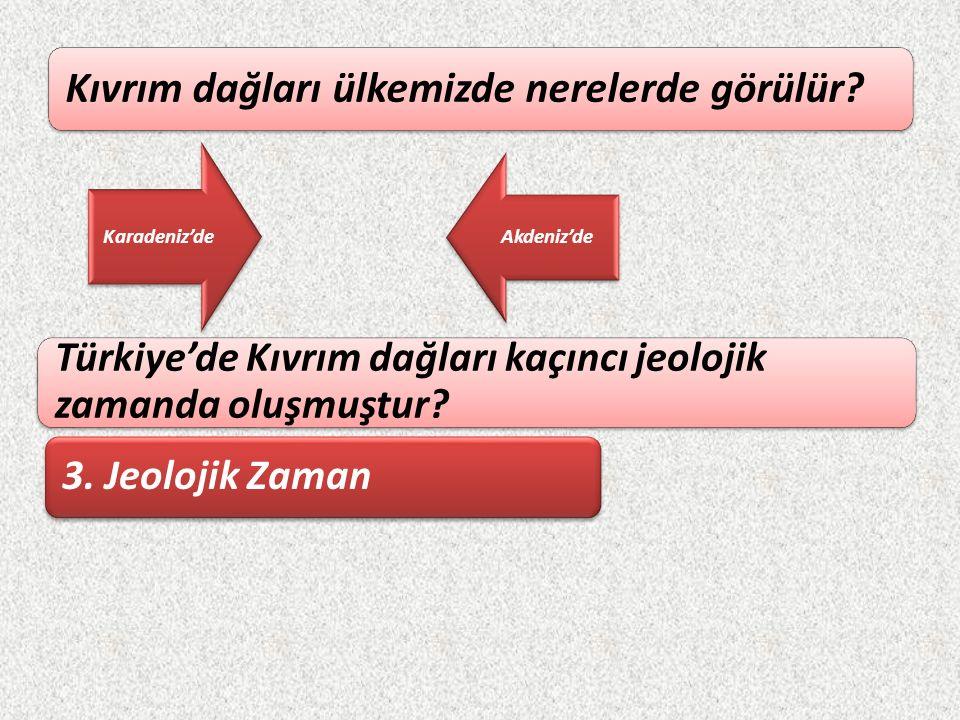 Türkiye'de Kıvrım dağları kaçıncı jeolojik zamanda oluşmuştur