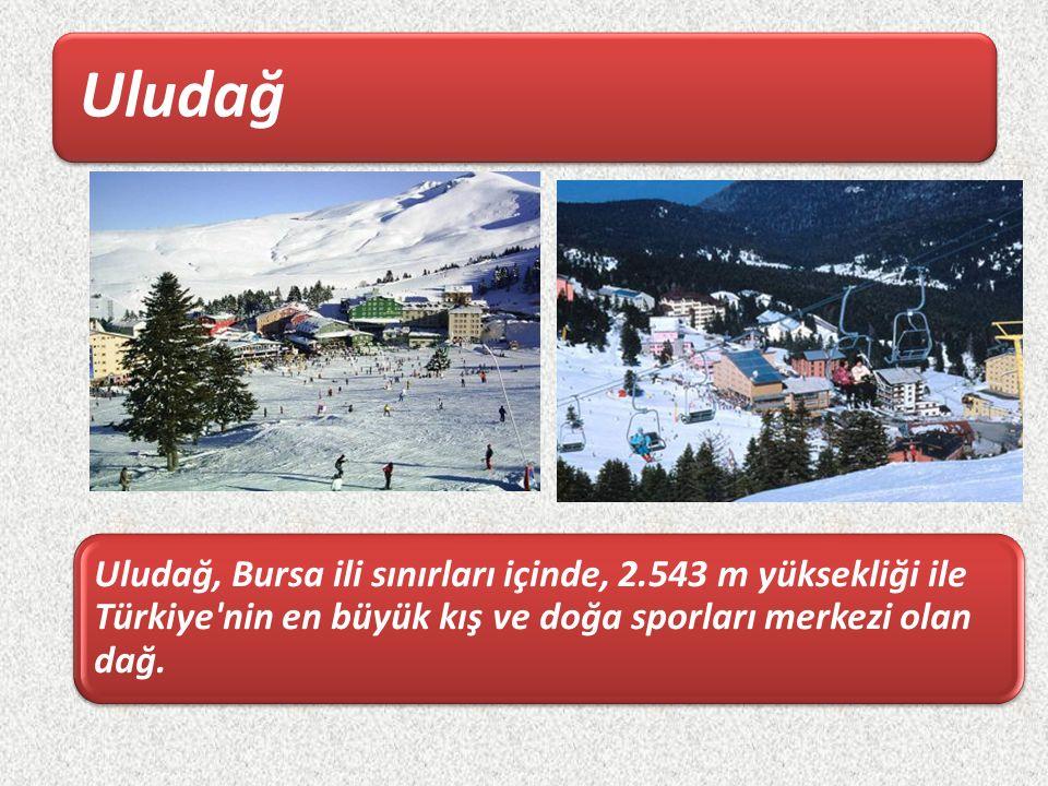 Uludağ Uludağ, Bursa ili sınırları içinde, 2.543 m yüksekliği ile Türkiye nin en büyük kış ve doğa sporları merkezi olan dağ.