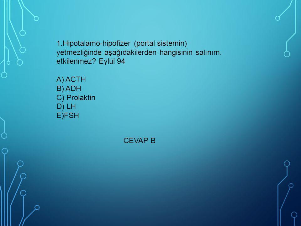 1.Hipotalamo-hipofizer (portal sistemin) yetmezliğinde aşağıdakilerden hangisinin salınım. etkilenmez Eylül 94 A) ACTH B) ADH C) Prolaktin D) LH E)FSH